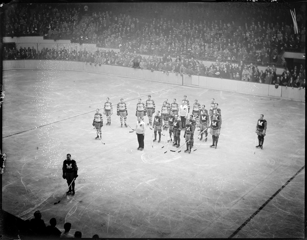 Rematch  Bruins and Maroons line up at Boston Garden. Quite probably this  is the November 26 08445ed1a