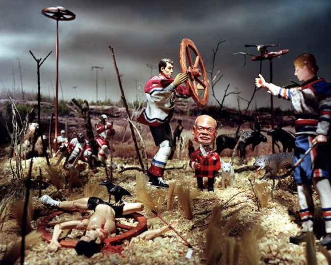 "113 Days Later: Winnipeg artist Diana Thorneycroft's ""The Martyrdom of St. Donald"" (2006), which doesn't purport to depict the state of the NHL after its third Bettman-era lockout, but could. For more of Thorneycroft's scintillant northern visions, visit dianathorneycroft.com."
