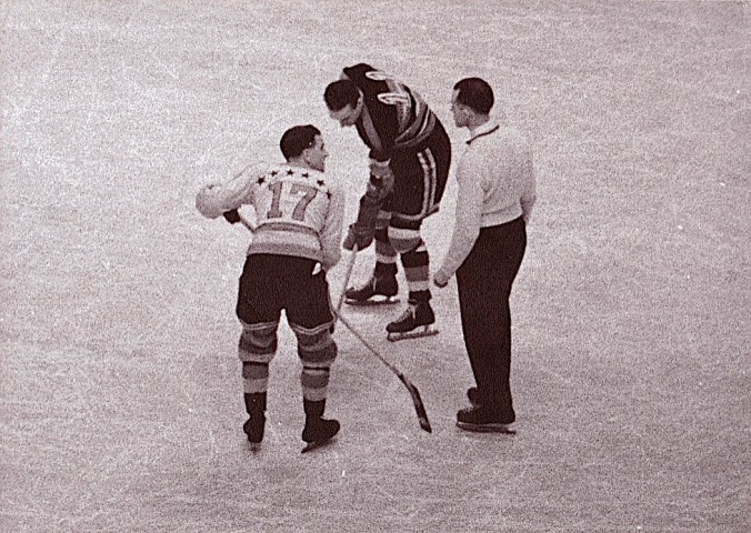 If He Were Younger: Hooley Smith (17) faces off for the New York Americans in 1937 with Chicago's Lou Trudel (11). Mickey Ion is the referee.