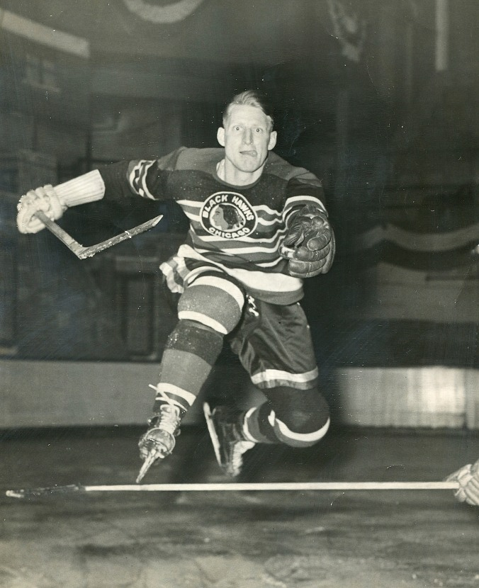 Leap of Leo: His father was the original Leo Reise, a defenceman who played one-eyed in the 1920s for the Hamilton Tigers, New York Americans, and the Rangers, too, a partner to Lionel Conacher and Ching Johnson. Leo Jr., above, was the first son of an NHL veteran to play in the league, not to mention a fine hurdler. Starting with the Black Hawks in 1945, he was later a Red Wing and Ranger before winding up his on-ice career as an Owen Sound Mercury in 1955.