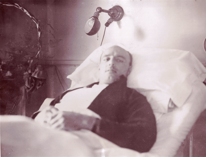 Embedded: A broken-ankled Ching Johnson reposes in his hospital bed at Montreal General in December of 1928, a few hours before flames forced him and his fellow patients out of the building.