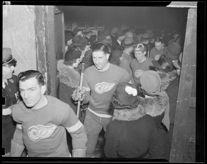 Winging It: Detroit players make their way iceward in the Boston Garden, circa the mid-1930s. (Courtesy of the Boston Public Library, Leslie Jones Collection)