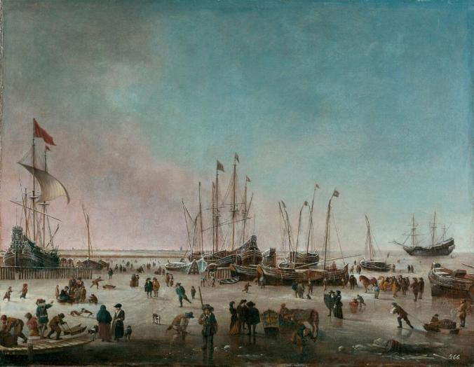 El puerto de Ámsterdam en invierno, Hendrick Jacobsz. Dubbels, óleo sobre lienzo, 67 x 91 cm, ca. 1656-60, Museo Nacional del Prado