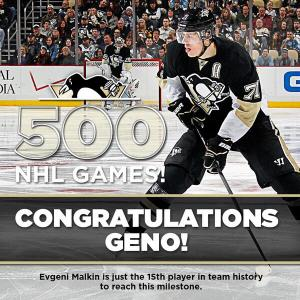 Evgeni Malkin played his 500th game as a Pittsburgh Penguin, this week, earning this salute from the team.