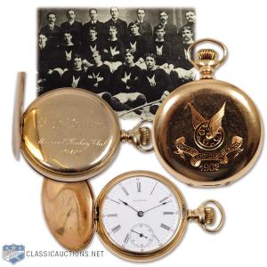 Shaker Style: Montreal's Classic Auctions has on its block the golden watch that Montreal HC presented to Dickie Boon in 1902. He helped them win their third Stanley Cup that year and (just maybe) shook some hands when it was done. Bidding starts at C$5,000. The auction closes on June 17. (Photo: Classic Auctions)