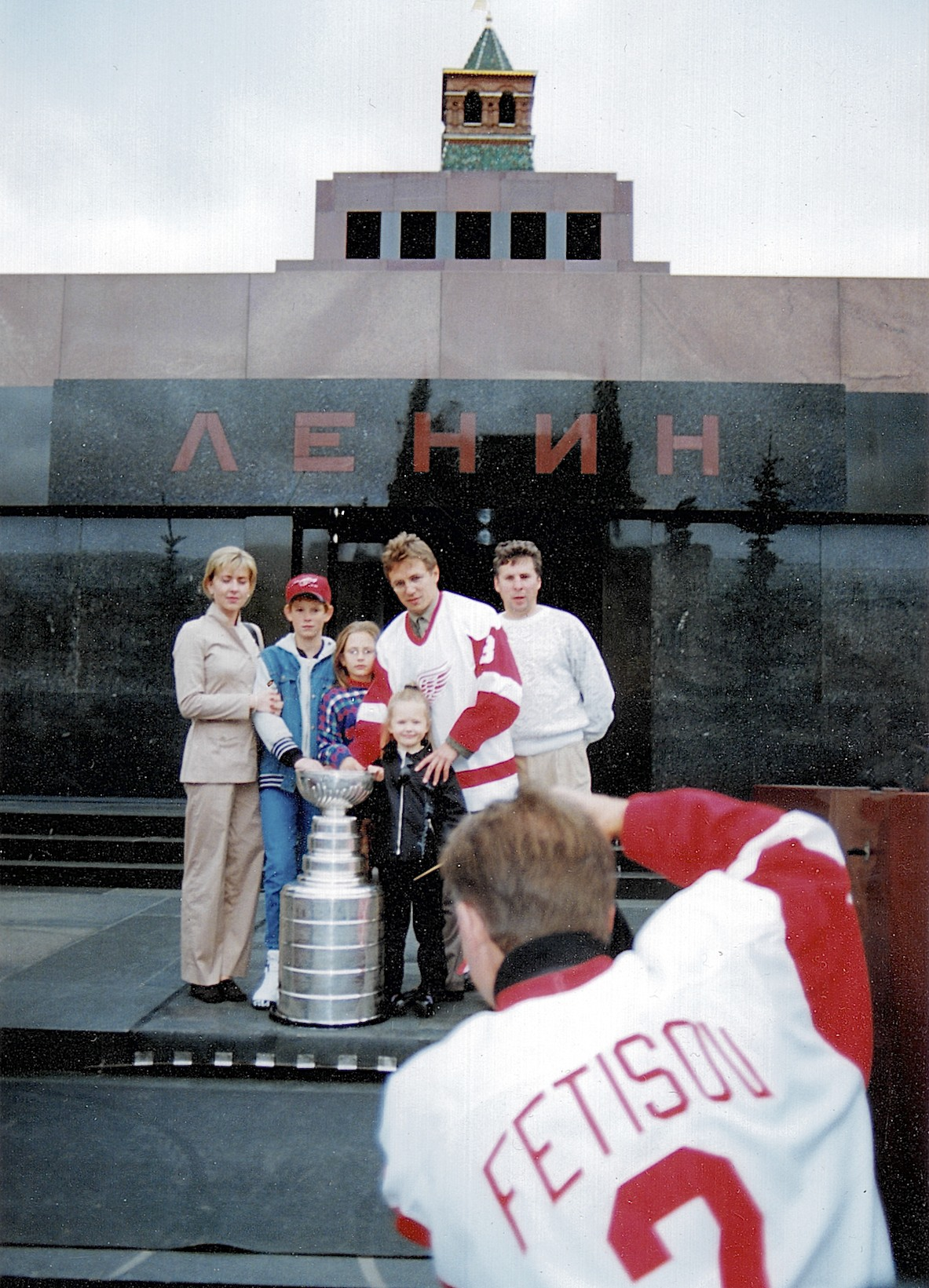 Red Square snapshot: Slava Fetisov focusses on friends (including his CSKA, CCCP and Detroit teammate Igor Larionov) in front of Lenin's tomb in Moscow on August 18, 1997, just before going in for a visit with the erstwhile chairman of the Council of People's Commissars of the Soviet Union.