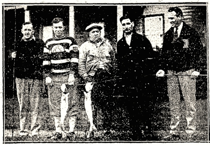 Silverware: Leaf fishermen show of the day's catch (lake trout) on October 30, 1928. From left, they're: Danny Cox, Art Smith, trainer Tim Daly, Lorne Chabot, and Art Duncan.