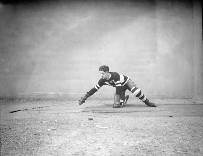 Exemplar: Buster Pennock, captain of the Vancouver Amateur Hockey Club, demonstrates the hook-check circa the 1929-30 season. (Photo: Stuart Thomson, Vancouver Archives, AM1535-: CVA 99-3805)