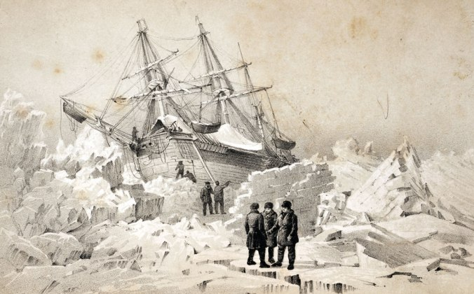 Rink Trouble: H.M.S. Terror beset in Arctic ice on a pre-Franklin voyage in 1838.