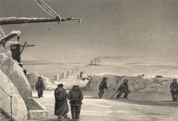 Howzat? Sailors from HMS Fury and Hecla play at cricket while in winter quarters in 1822-23 near Igloolik. (British Library)
