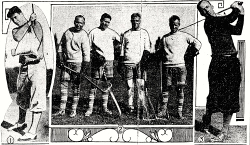 Leafs in Fall: Getting ready for the season in 1931 are (1) a beslinged Harvey Jackson recovers from a car accident; (2) Harold Cotton, Red Horner, Charlie Conacher, and Hap Day on course; and (3) Ace Bailey unleashes a 200-years drive.