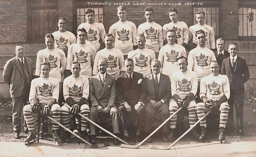 The 1929-30 Leafs, with Corporal Joe Coyne in the middle row, second from the right, between Frank Selke and Lorne Chabot.