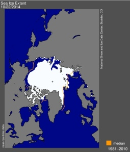State of the Rink: The spread of Arctic ice, as of October 22, 2014, from the National Snow and Ice Centre in Boulder, Colorado.
