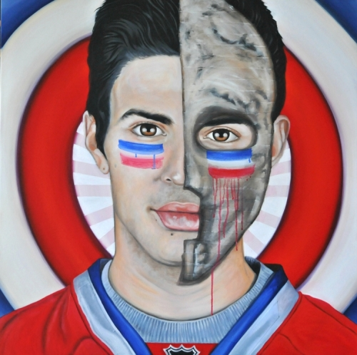 """Keep Calm and Carey On: """"Target Legacy"""" is what Victoria artist Brandy Saturley calls this painting of Carey Price, which she finished in May of this year. """"An homage to Habs goaltenders,"""" is how she describes it, """"and to an iconic Neo-Dadaist artist. Can you guess which one?"""" For more of her work, hockey and otherwise, visit www.brandysaturley.com."""