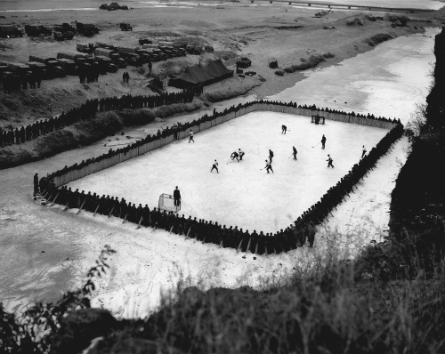 Down On The River: Hockey on the Imjin River in Korea, circa 1952. (Photo: Library and Archives Canada, PA-173471)