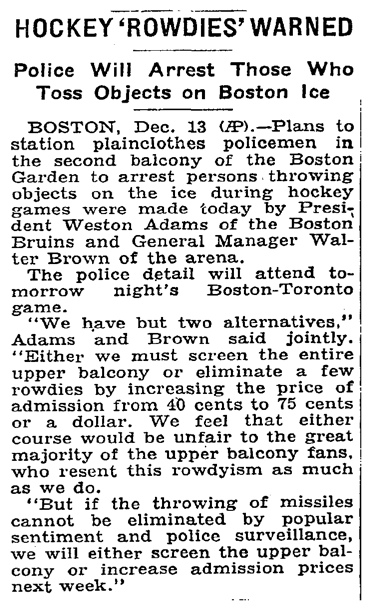 hockey rowdies warned