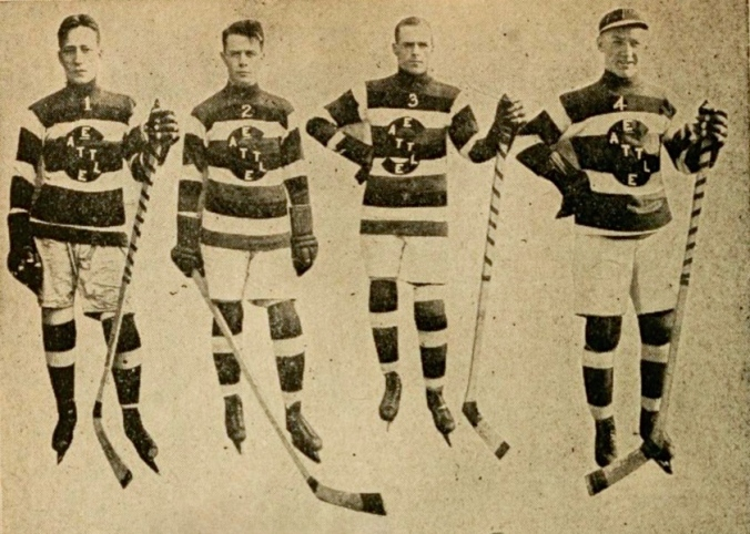 You Don't Know Jack: Third from the left, hook-checking Jack Walker poses with Seattle Metropolitan teammates in 1915.