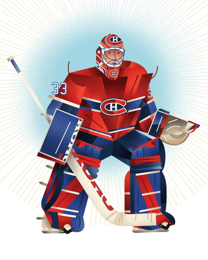Le Guerrier: He talked to his goalposts, of course, to ask them for help. Some of Patrick Roy's other superstitions during his illustrious playing career included donning his left skate before the right; writing the names of his three children on his stick before each game; and eating the same pre-game meal of steak and peas, mashed potatoes and salad. Toronto illustrator Dave Murray catches him here pre-vowing-never-again-to-play-for-Montreal-and-subsequently-ending-up-traded-to Colorado phase. For more of Murray's work, see http://davemurrayillustration.com/