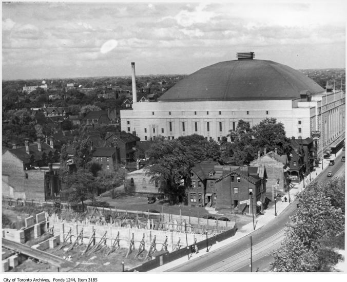The House That Conn Built*: Carlton Street and Maple Leaf Gardens, looking northeast, circa 1934. *(with the help of several thousand actual contraction workers)