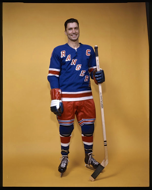 Ranking Blueshirt: New York Rangers captain Andy Bathgate stands on guard circa 1963. (Photo: Louis Jaques / Library and Archives Canada / e002505678)