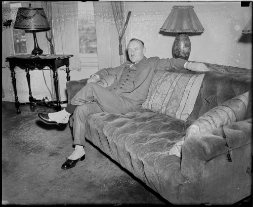 Coach #2: Conn Smythe, seen here in spats in 1937, was the Leafs' second coach after they transformed from St. Patricks in 1927. (Photo: Courtesy of the Boston Public Library, Leslie Jones Collection)