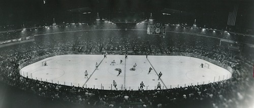 On Madison, A Madhouse: Chicago's old, noisy Stadium housed the Blackhawks from 1929 until  1994, whenupon the team moved to its new and present home, across the street at the United Center. Here, above, Chicago skates with Toronto in the fifth game of the 1967 Stanley Cup semi-finals. Leafs won; later they moved on to meet and beat the Montreal Canadiens to win the Cup. (Photo: Pete Peters)