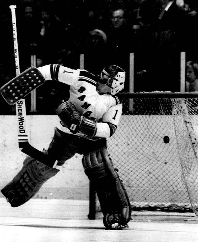 Nothing But Net: New York Rangers' goaltender Ed Giacomin sees a puck shot by Montreal's Jacques Lemaire pass him by in December of 1974 in a Madison Square Garden game that ended in a 3-3 tie. (Photo: UPI)