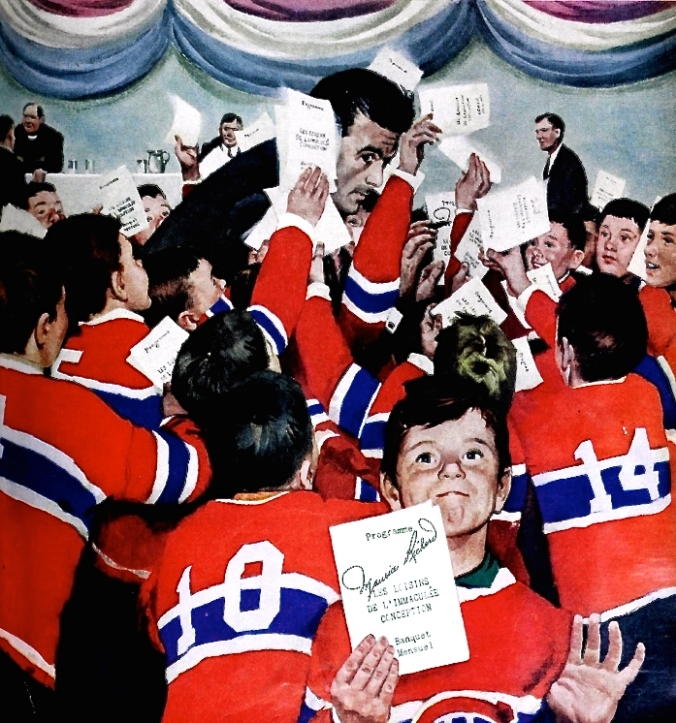Sign Here: Franklin Arbuckle's painting of a besieged Maurice Richard adorned the cover of Maclean's magazine the week of March 28, 1959.