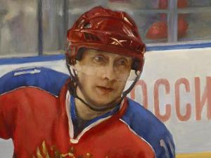 A detail of Nikas Safronov's Putin portrait (russieinfo.com)