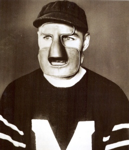 Protecting Device: Clint Benedict in his mask, 1930.