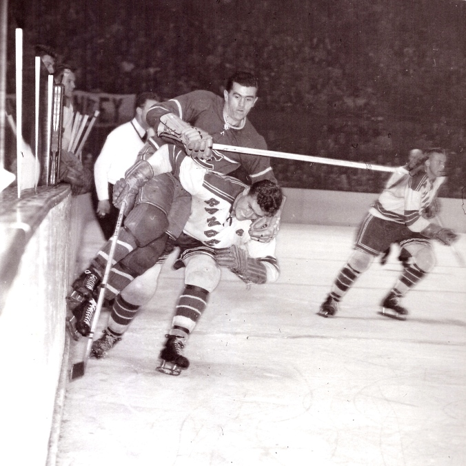 Rocket Foil: Ranger defenceman Allan (a.k.a. Snowshoes) impedes Rocket (a.k.a. Maurice) Richard in a 1951 encounter between New York and Montreal. (Photo: UPI)