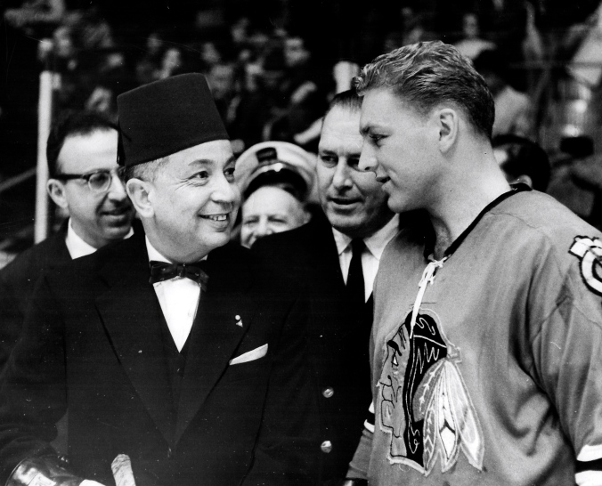 Jet Set: Chicago's Bobby Hull greets the Pasha of Kenitra on-ice at the Stadium in January of 1962.