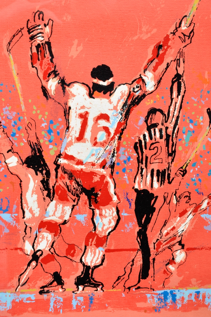"Wingman: Bidding on LeRoy Neiman's vivid interpretation of a Detroit goal started at US$1,000 at the latest sale of hockey art and artifact by Montreal's Classic Auctions, but this edition of his 1973 serigraph ""Red Goal"" didn't find a buyer by the time the bazaar closed last week. That's Red Wings centre Henry Boucha unmistakably, number 16, with his trademark headband, but his happy teammates are harder to identify. Tim Ecclestone? Nick Libett? The referee has a bit of a Ron Wicks air to him — unless it's a Lloyd Gilmour look?"