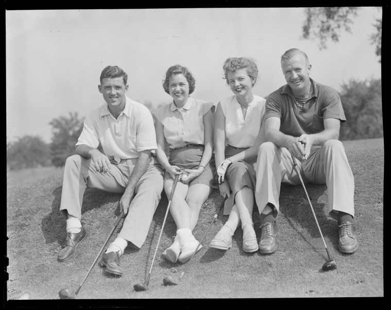Green Energy:  Bruins Johnny Peirson (far left) and Bill Quackenbush (far right) take a break during a 1952 round. Second from right is Joan Kalloch, who married Quackenbush a year later; Peirson's friend remains unidentified. (Photo: Courtesy of the Boston Public Library, Leslie Jones Collection)