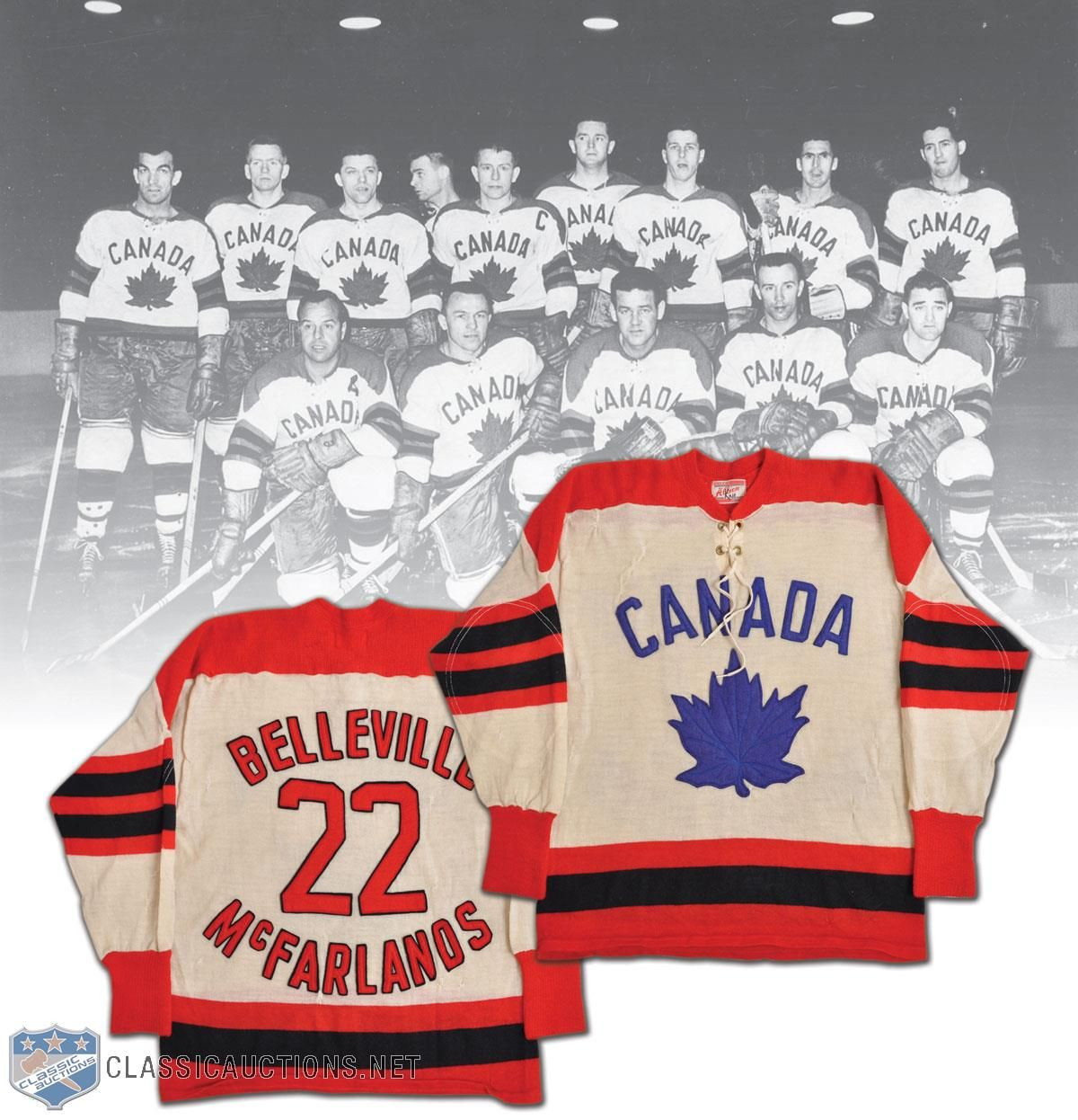 Canadian Blue: Belleville's McFarlands wore a blue leaf (and petiole) to the 1959 World Championships in Prague, Czechoslovakia. (Photo: Classic Auctions)