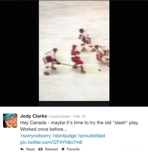 Ankleburner: Bobby Clarke's daughter Jody took to social media during Canada's quarter-final in the February, 2014 Winter Olympics to suggest a way forward. Tied 1-1 with Latvia after two periods, the Canadians won the game in the third on a Shea Weber goal, and went on, of course, to beat the United States and Sweden to secure a gold medal.