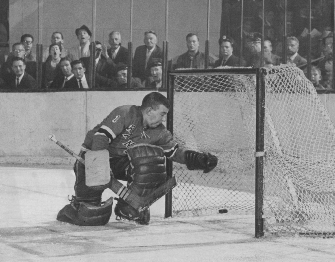 pucks shot by Frank Mahovlich Toronto @ Rangers 1-1-61 (Photog: Fred Morgan)