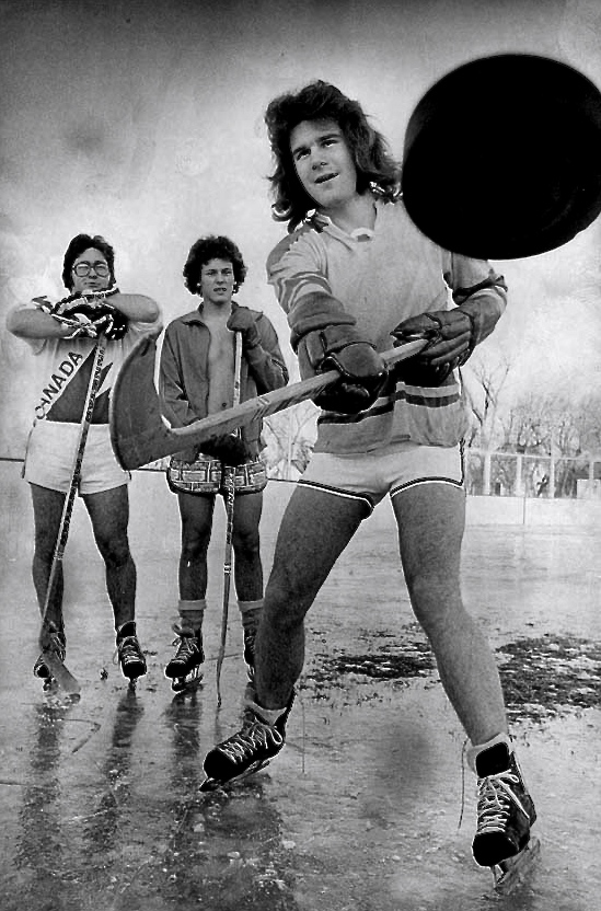 Photographer: ThordarsonDate: November 01, 1976 Heading: Hockey 1964-1979 Caption: Scott Johnston, ken Gunlaugson and Chris Barton - members of Bourkevale Hockey Team  Call Num: PC 18/3520/18-2751-018